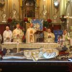 Celebrazione della Santa Messa a Borgo San Martino alla presenza dell'urna con le reliquie di San Giovanni Bosco
