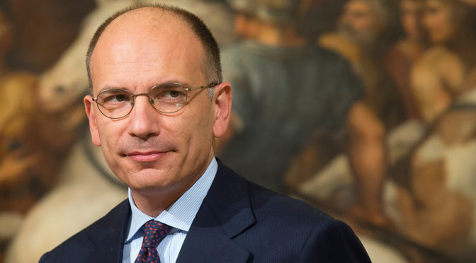 Italian Premier Enrico Letta arrives for his meeting  with China's Foreign Affairs minister Wang Yi at Palazzo Chigi premier office, in Rome,  Tuesday Oct. 29, 2013. (AP photo/Alessandra Tarantino)