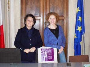 Il sindaco Palazzetti e l'assessore Carmi durante la presentazione del convegno