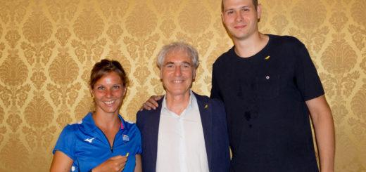 Nella foto, Giulia Gabba (capitana Canottieri Casale, A1F), Franco Guaschino, Niccolò Martinoni (capitano JB Monferrato).